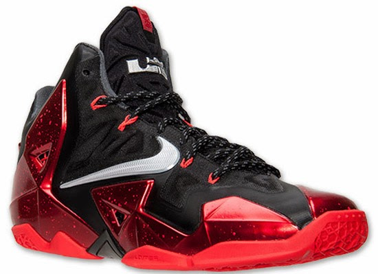 This Nike LeBron 11 comes in a black, metallic silver, university red, bright