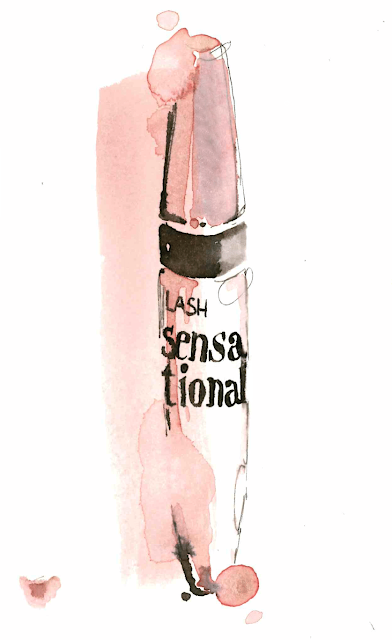 Mascara Maybelline make-up watercolor fashion illustration - Alessia Landi