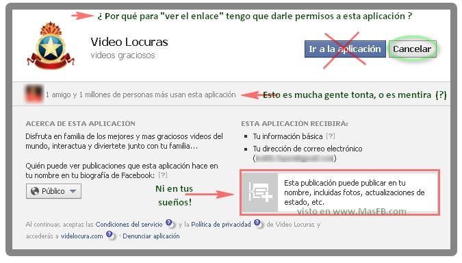 Permisos Facebook para VideLocura.com