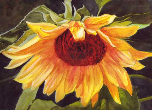 Bunny's Artwork: Sunflower Watercolor Painting