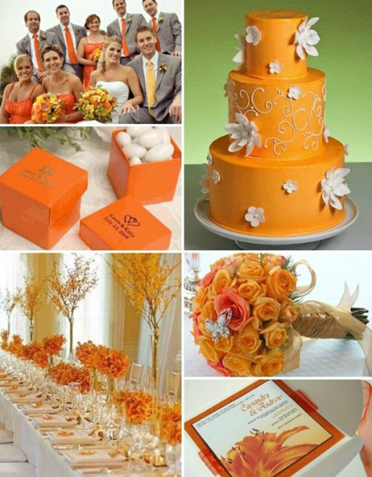 fall orange wedding cake color