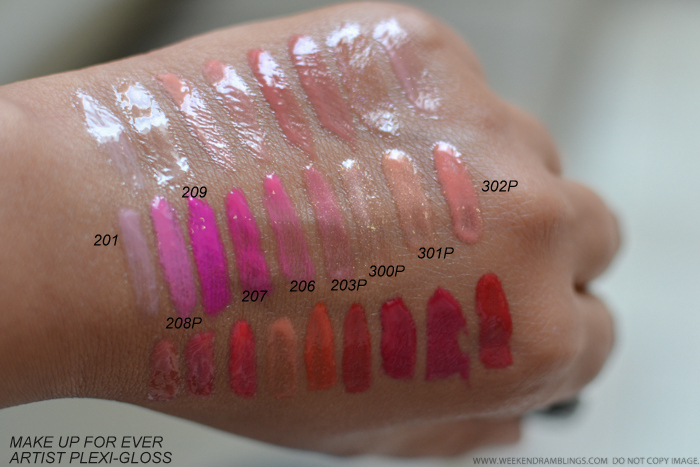MUFE Make Up For Ever Artist Plexi-Gloss Swatches  201 208P 209 207 206 203P 300P 301P 302P