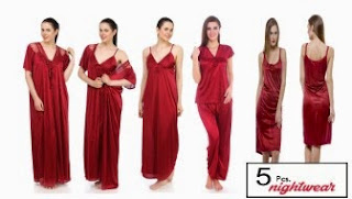 Buy Trendy Satin Lycra Nighty Set of 5 for Rs.439 at Shopclues