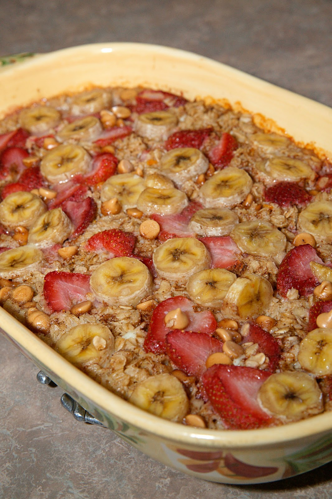 strawberry peanut butter banana baked oatmeal