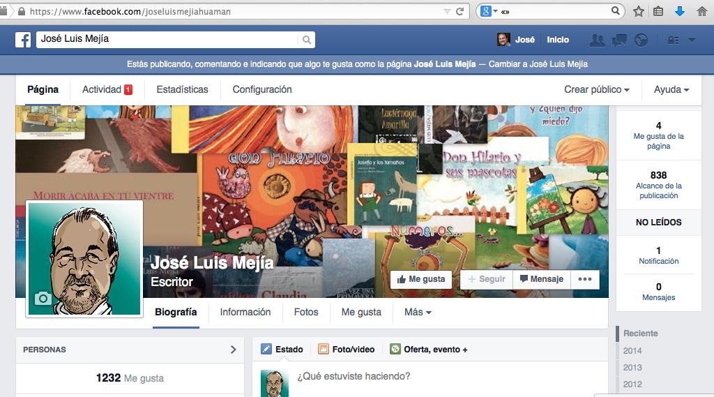 La página de José Luis Mejía en FB