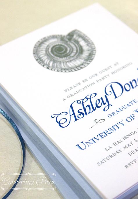 Seashell Graduation Announcement - Concertina Press