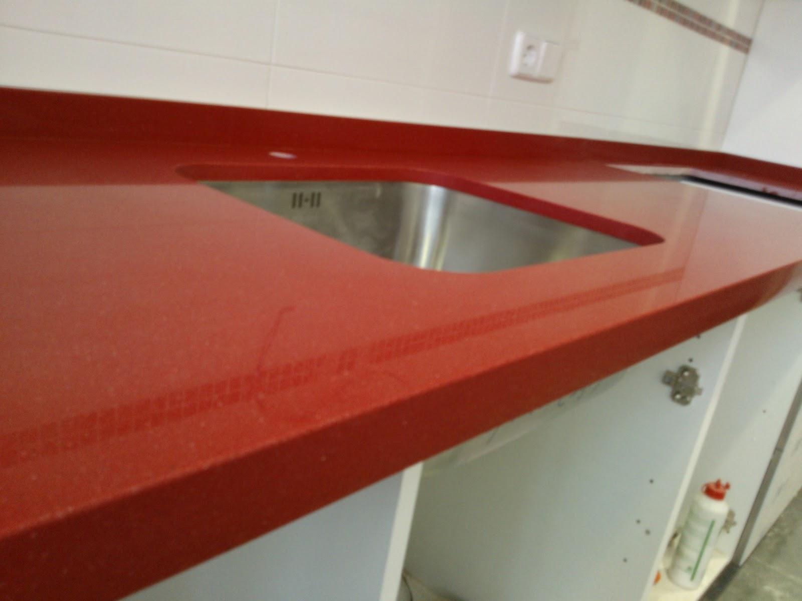 Marmoles vedat s l u encimera silestone rojo eros for Granito color rojo