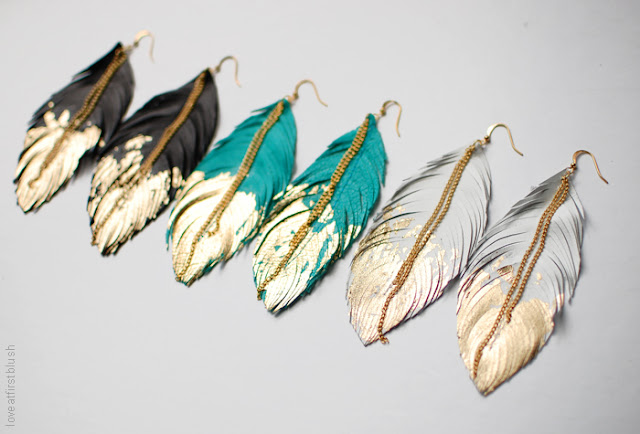 Handcrafted Hand cut Leather Feather Earrings with Gilded Golden Tips