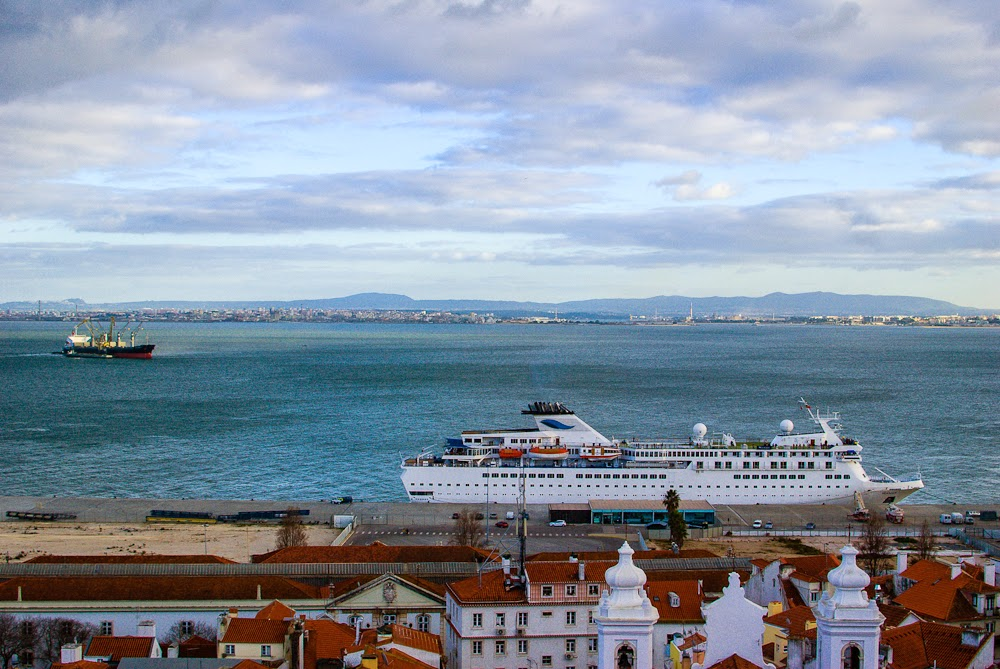 view of the sea from above in lisbon