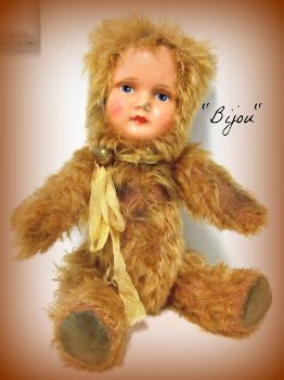 """Bijou""~OOAK ""Antique Style"" Teddy Doll-Made From Mohair and a Vintage Paper Mache Doll Head!"