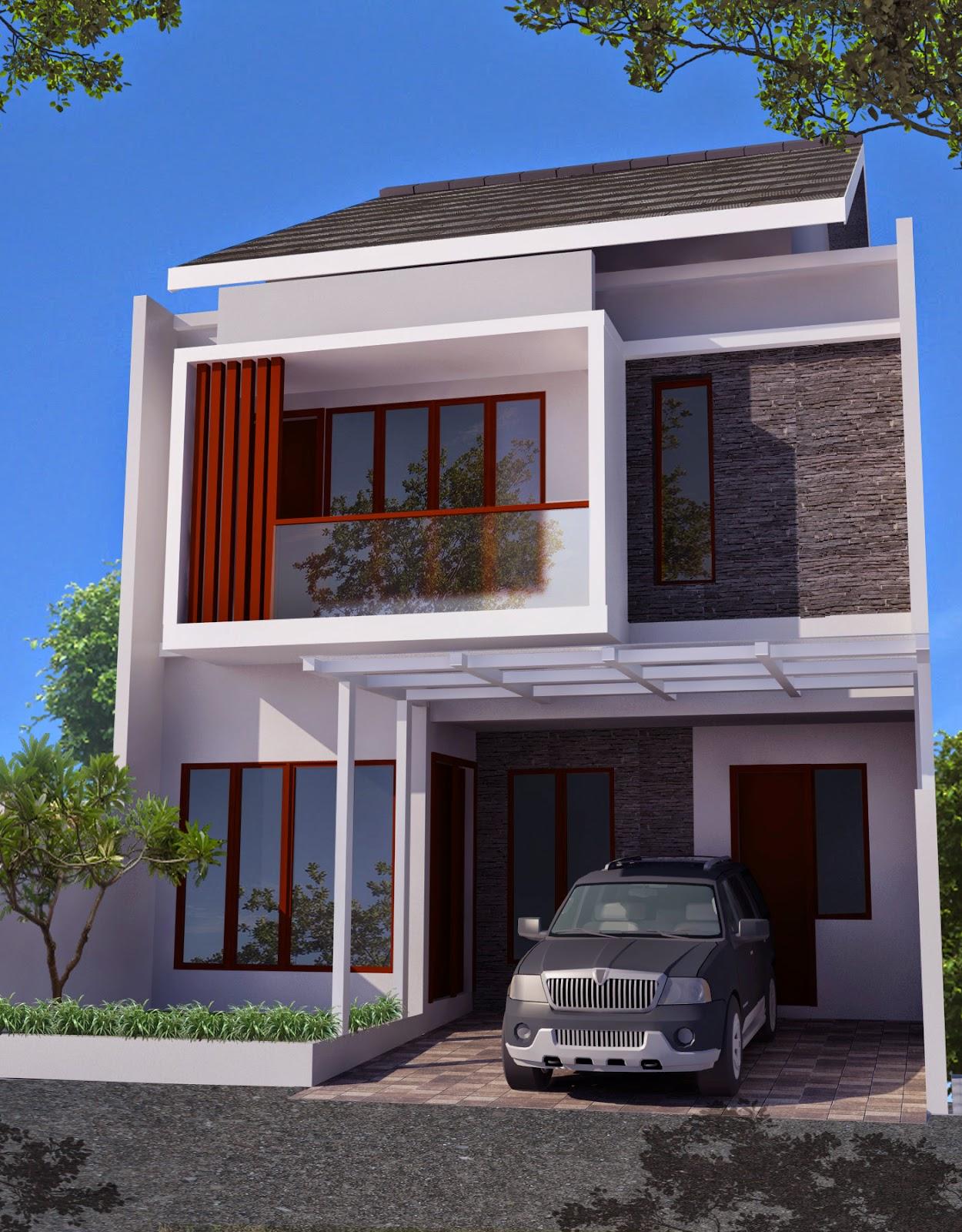 10 desain denah rumah minimalis modern 2 lantai type 45 - Desain Rumah Minimalis 2 Lantai Lebar 10 Meter