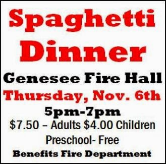11-6 Spaghetti Dinner at Genesee Fire Hall