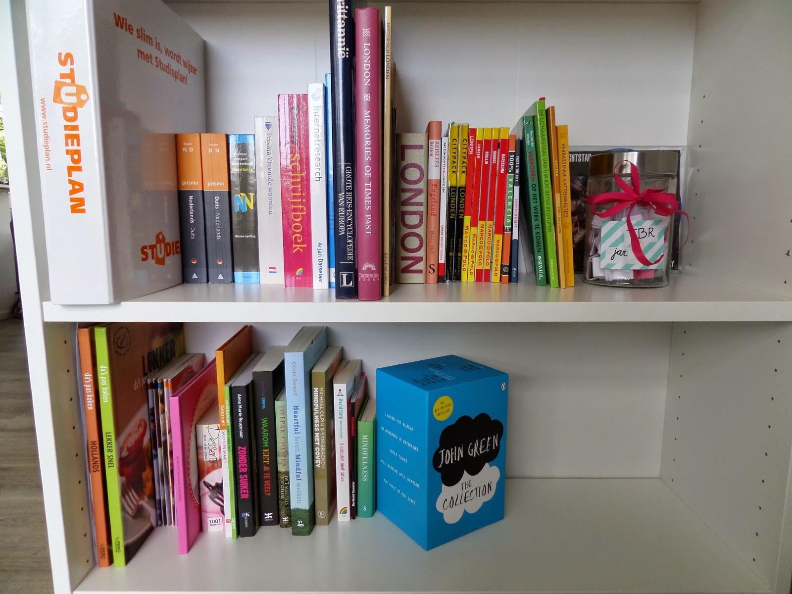 op de plank eronder staan engelse woordenboeken en boeken die met psychologie te maken hebben ook staan er wat grappige boekjes die ik voor verjaardagen