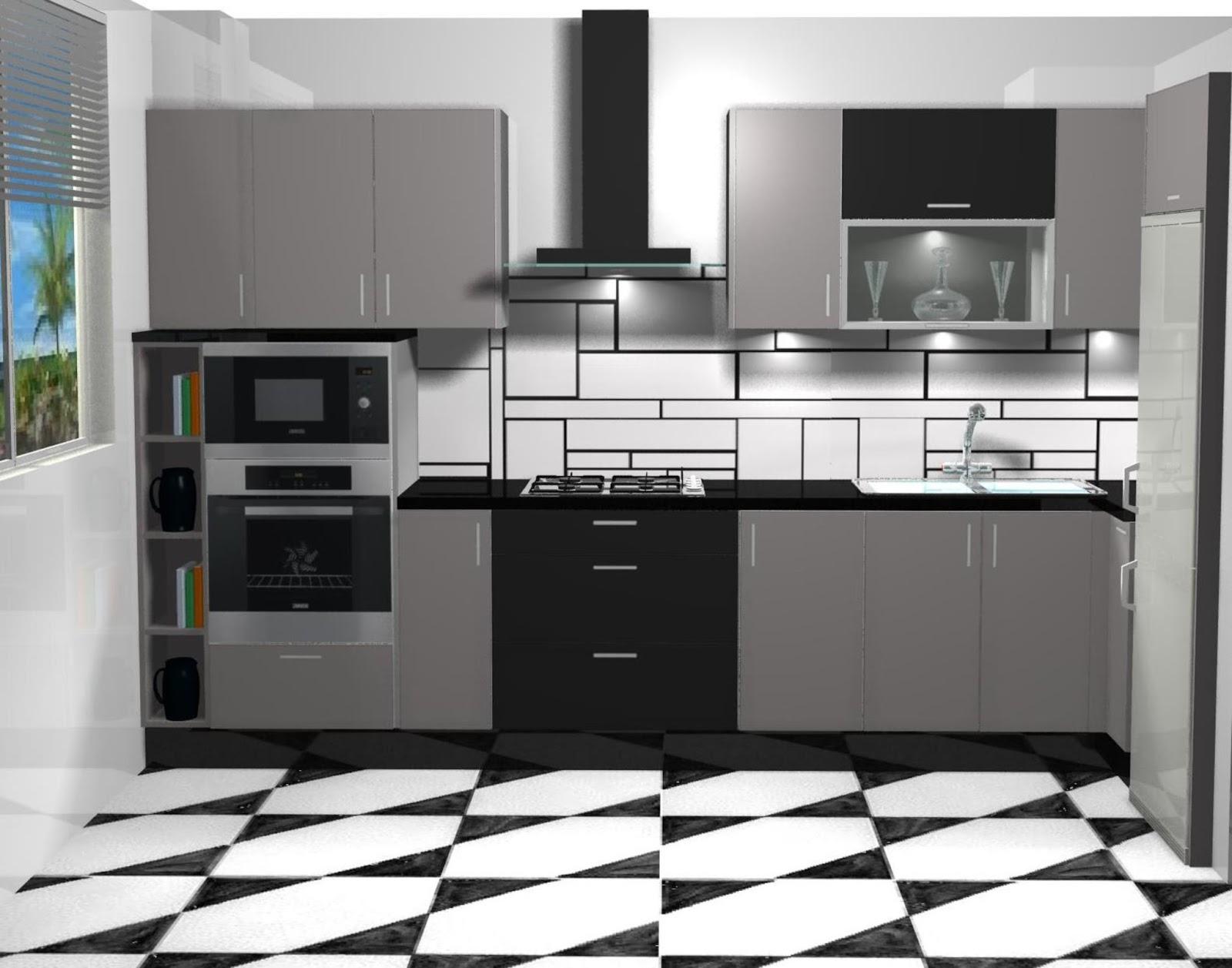 dise o de cocina en alto brillo gris y negro On cocinas en negro y gris