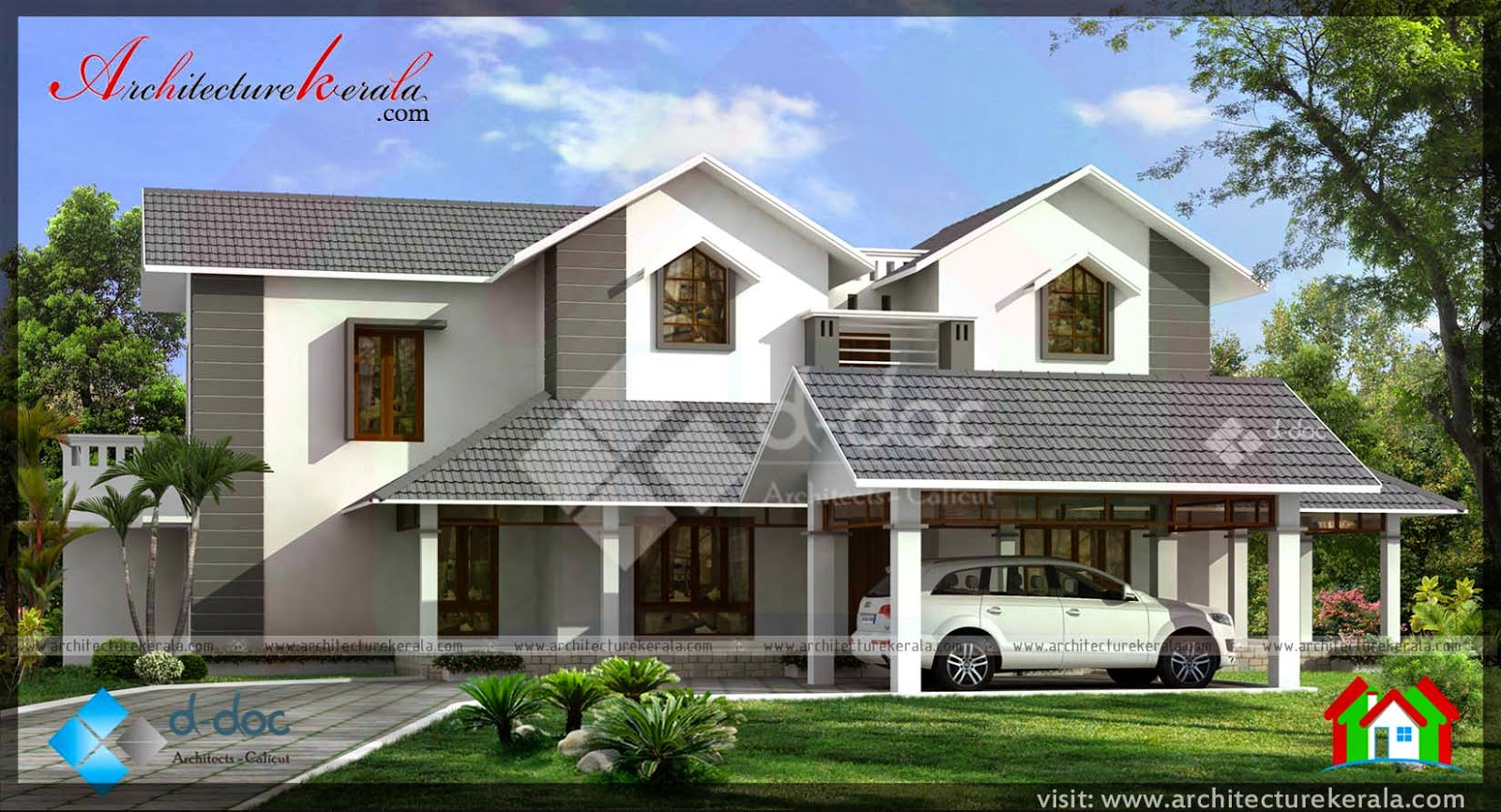 Contemporary house in 3000 sq ft architecture kerala for 3000 sq ft house plans kerala