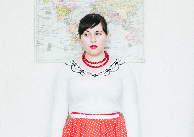 what i wore   white sweater & red polka dot skirt