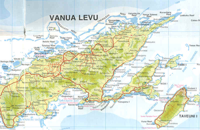 Detailed map of Vanua Levu, Fiji