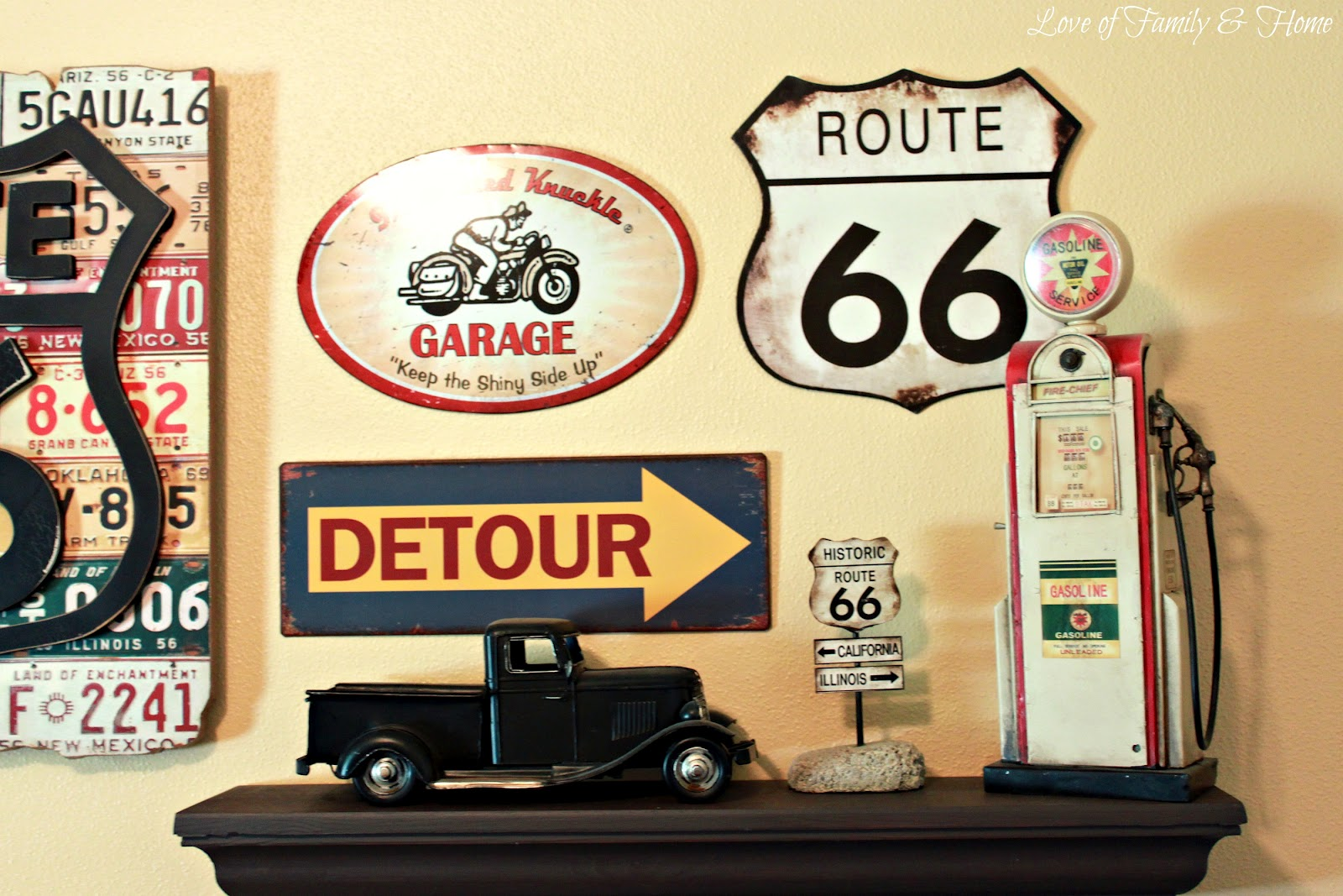 Route 66 nursery gallery wall love of family home for Room decor signs