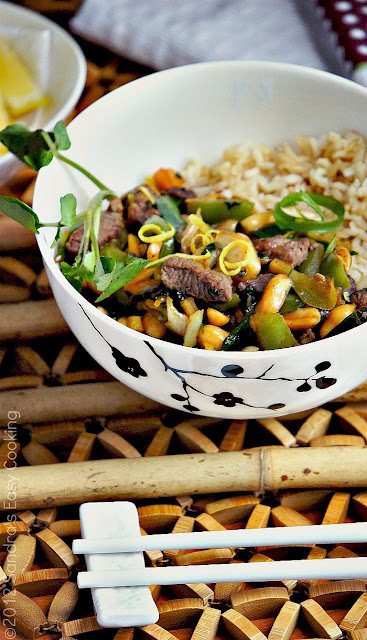 Homemade recipe for Thai Beef Stir-Fry over Brown Rice