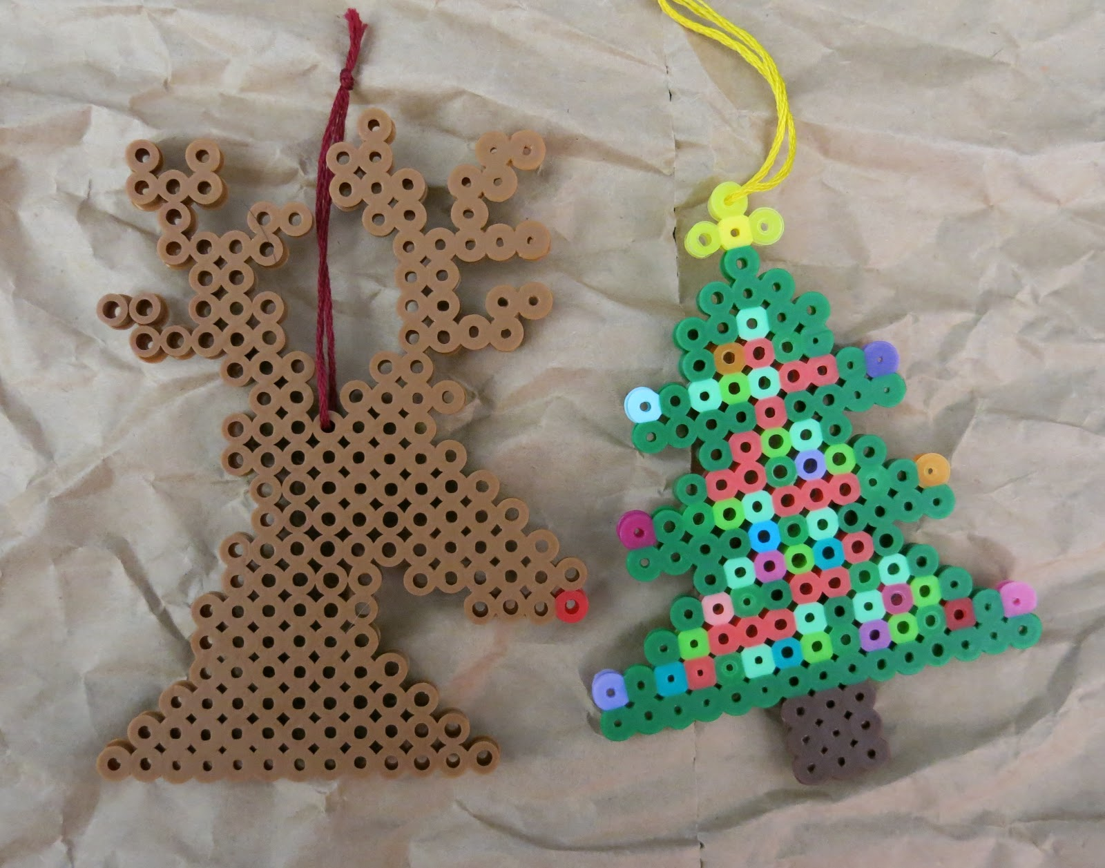 these are the last of my perlerhama bead christmas ornaments for the year say it aint so - Perler Beads Christmas