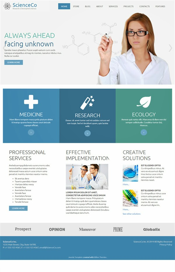 ScienceCo - Free Virtuemart Template