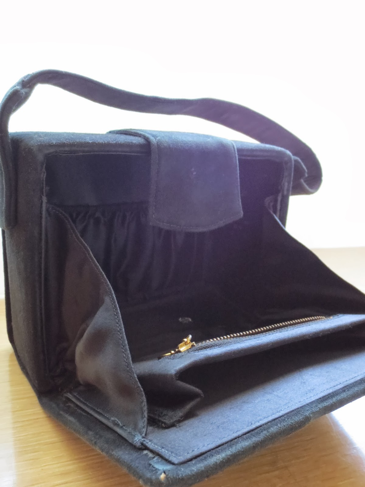 1940s black suede box purse interior via Brentwood Lane