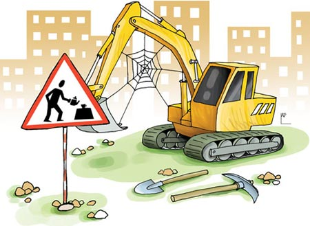 Tranh biếm họa công trình xây dựng chậm tiến độ