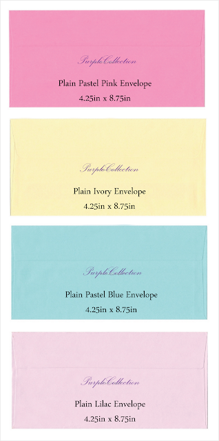 envelope choices, plain pastel pink envelope, plain ivory envelope, plain pastel blue envelope, plain lilac envelope