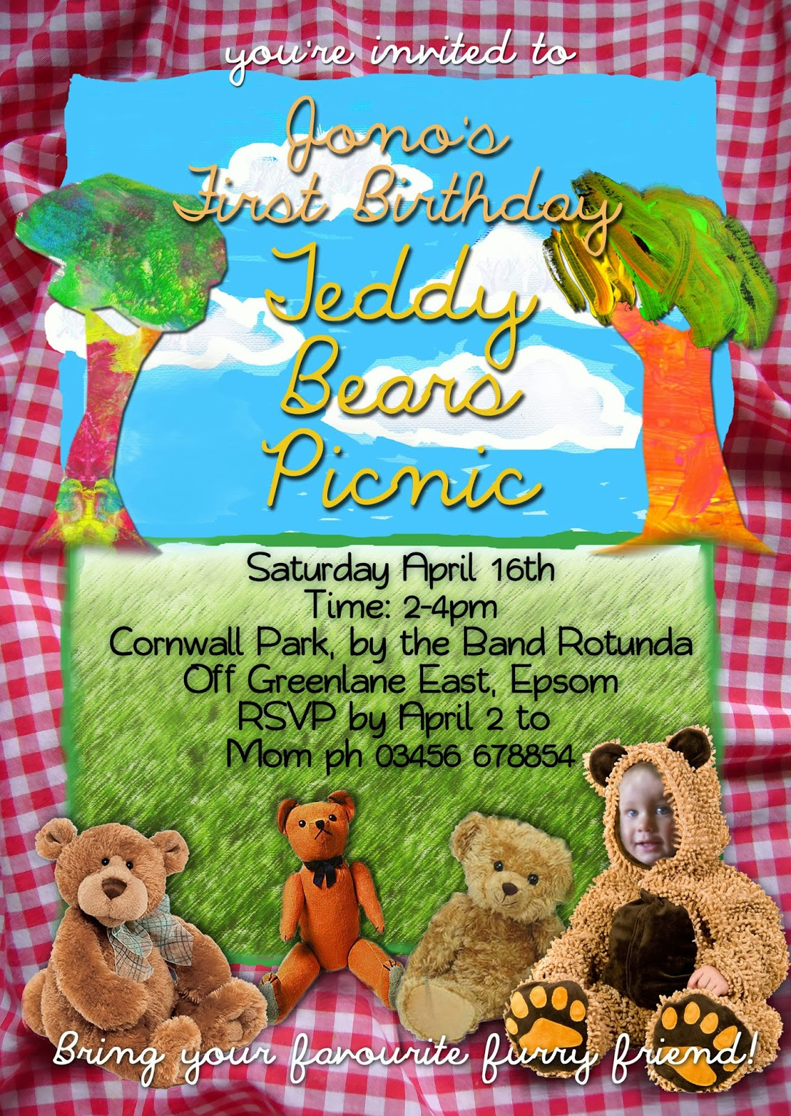 FREE Kids Party Invitations: Teddy Bears Picnic Invitation