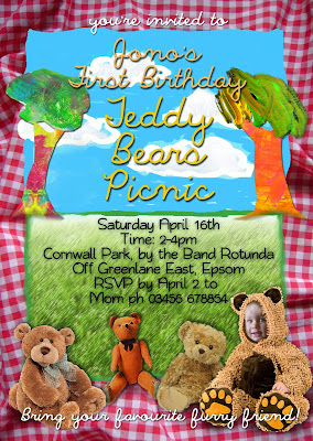 Teddy Bears Picnic Personalized Invitation with photo