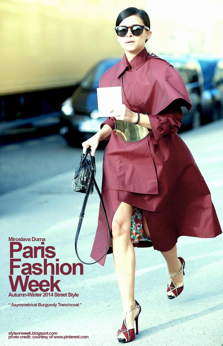 Paris Fashion Week Autumn-Winter 2014 Street Style - Asymmetrical Burgundy Trenchcoat