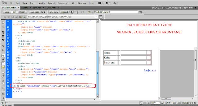 Koreksi pengkodean HTML Iframe di Dreamwever bagian Nge-LINIK | www.noterian.blogspot.com