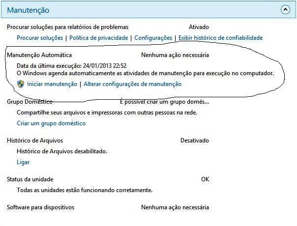 Configure a manutenção automática do Windows 8