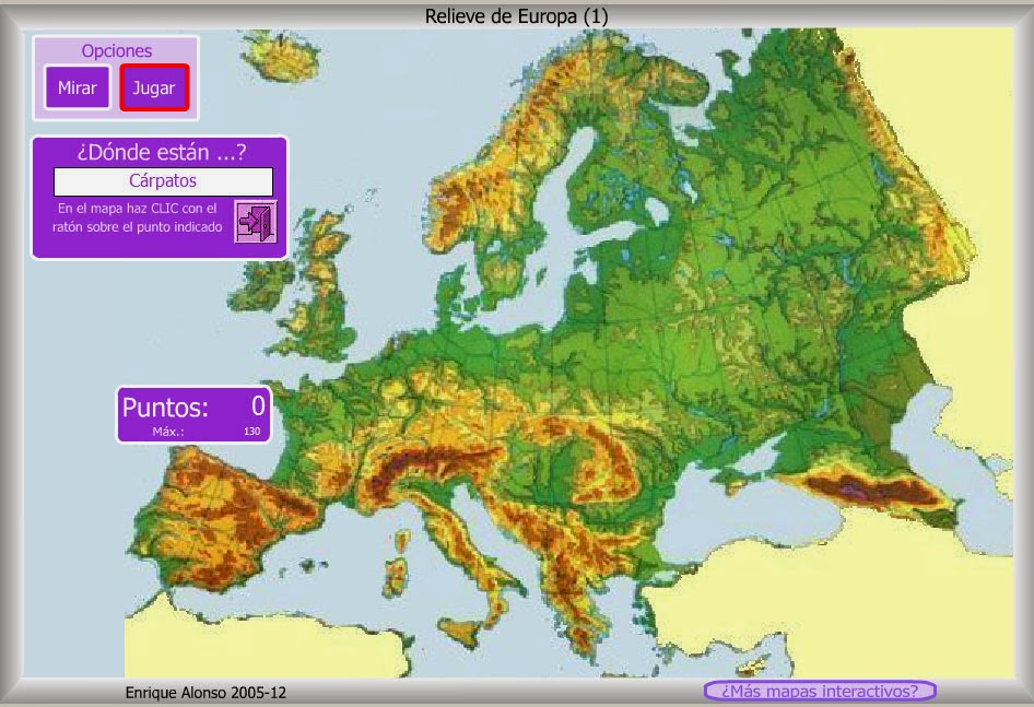 Mapa cordilleras de Europa