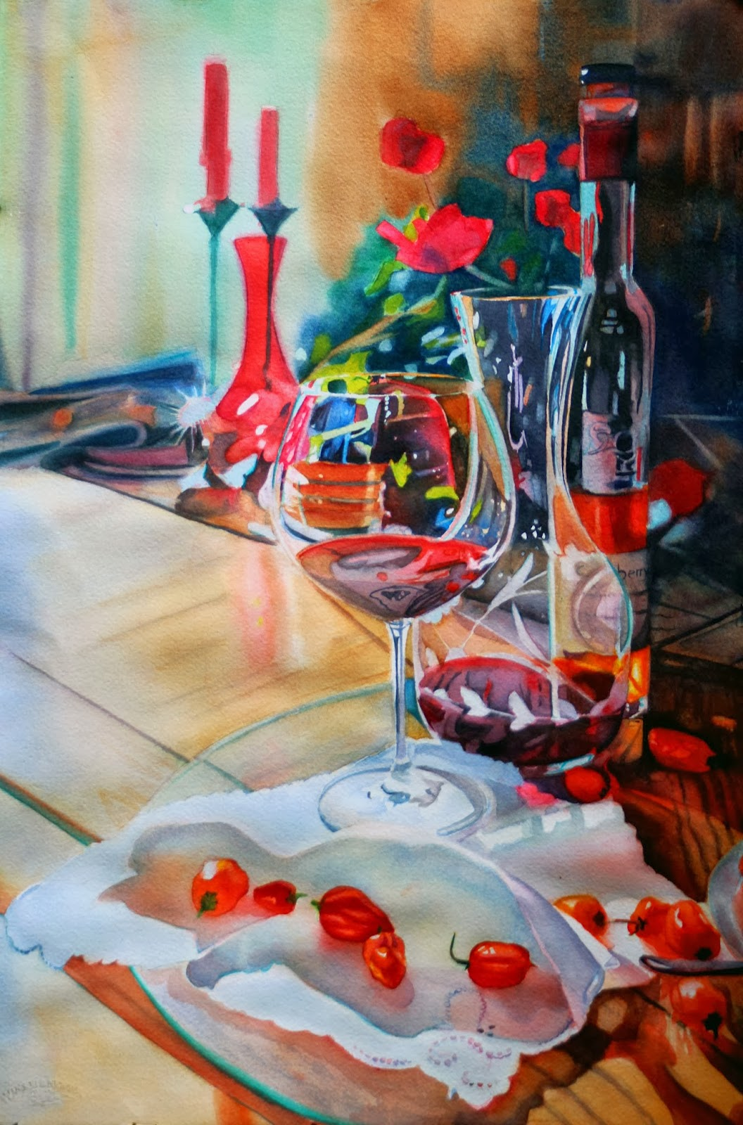 "Watercolour painting ""Prepping for Dinner"" by Sam l Boehner"
