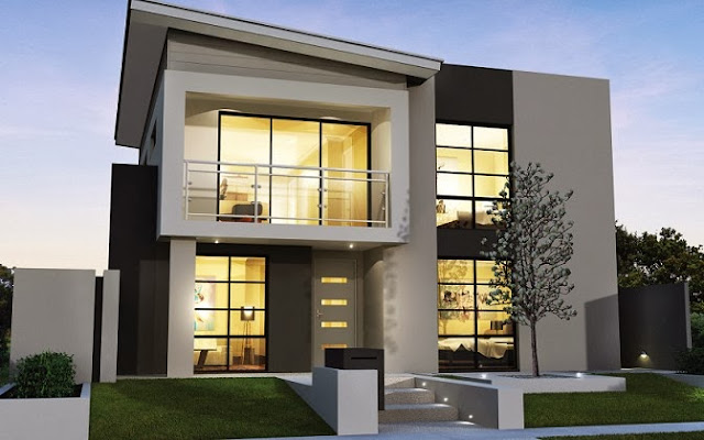 gamabar desain rumah minimalis modern 2 lantai desain