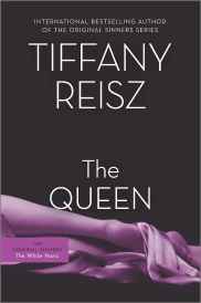 Cover of The Queen by Tiffany Reisz. A woman's purple-tinted, silk-draped legs snake across the bottom of the solid black background, with the author's name and the title directly above them in white.