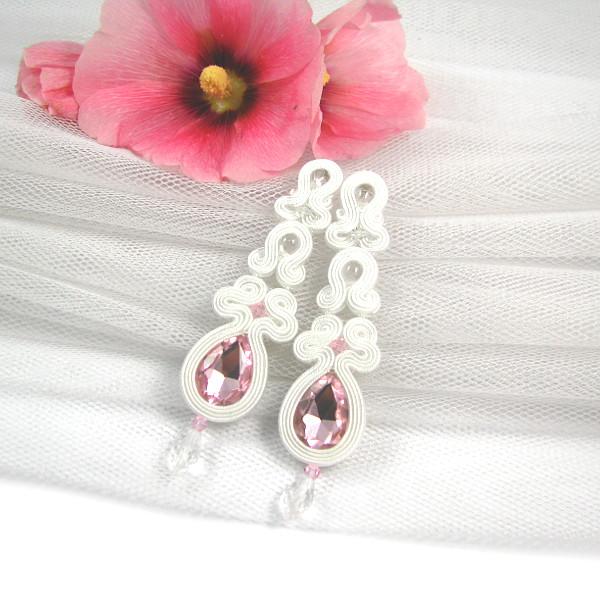 Sutaszowe różowe kolczyki ślubne