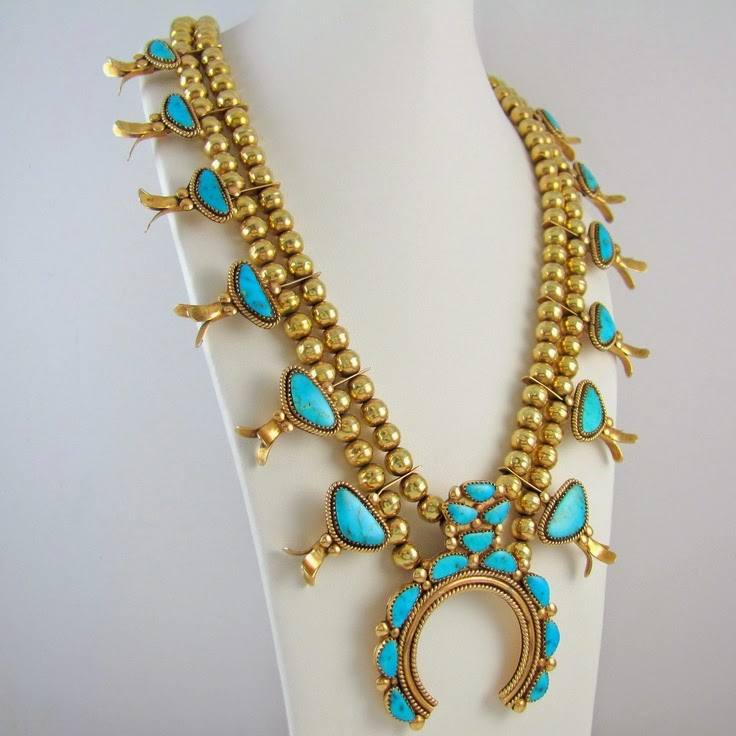 turquoise and gold squash blossom necklace