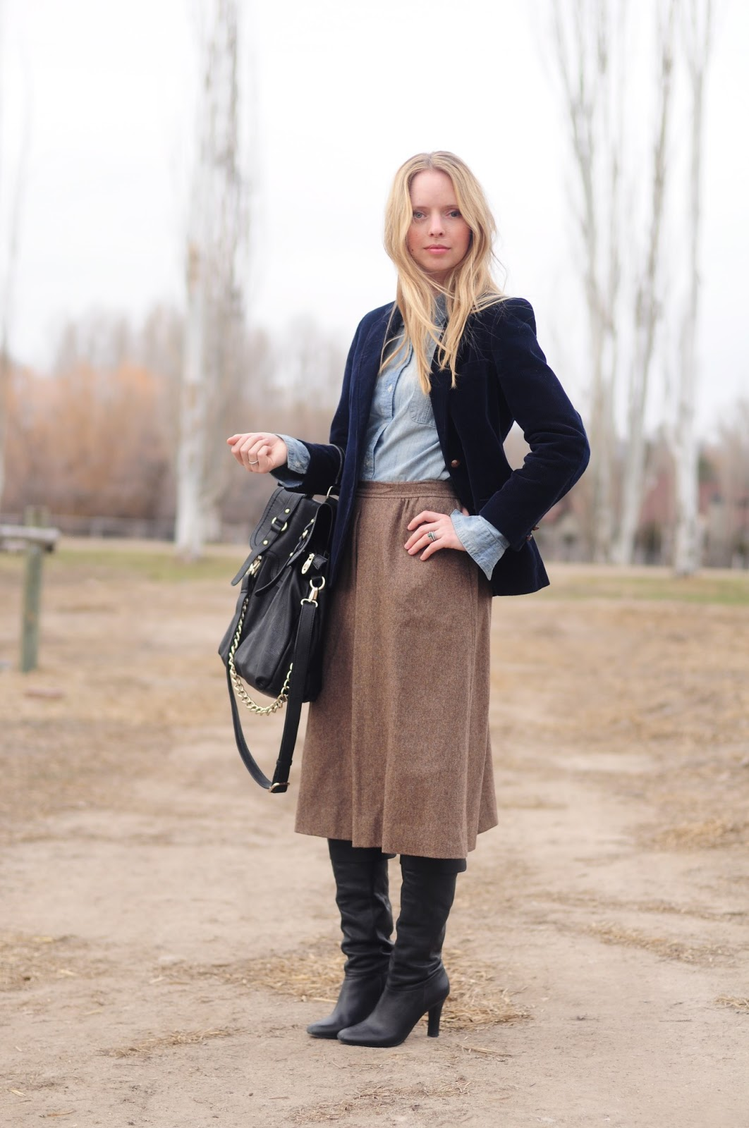 Tweed Midi with Denim ~ Thread Ethic | Modest Fashion