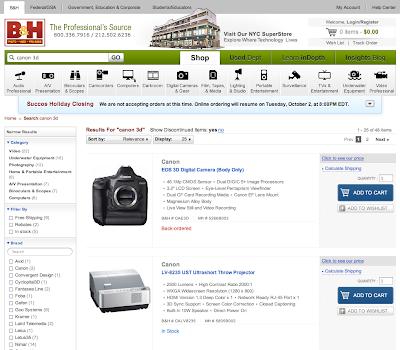 Videata, forse falsa, del negozio on-line B&H con in vendita la Canon EOS 3D
