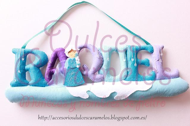 nombre de fieltro para Raquel, Elsa, Frozen