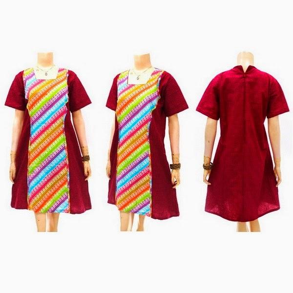 Dress Batik Model Kutu Baru Merah