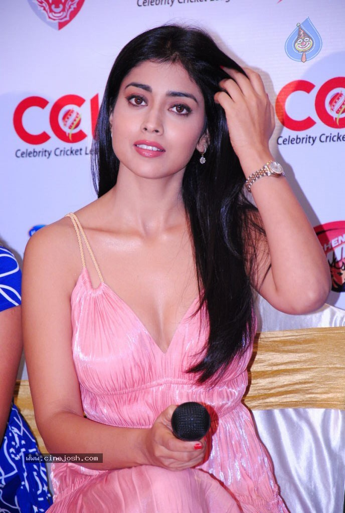 Shriya Saran Hot Pic in Pink Dress1 -  Shriya Saran Hot Pics in Pink at CCL Press Meet