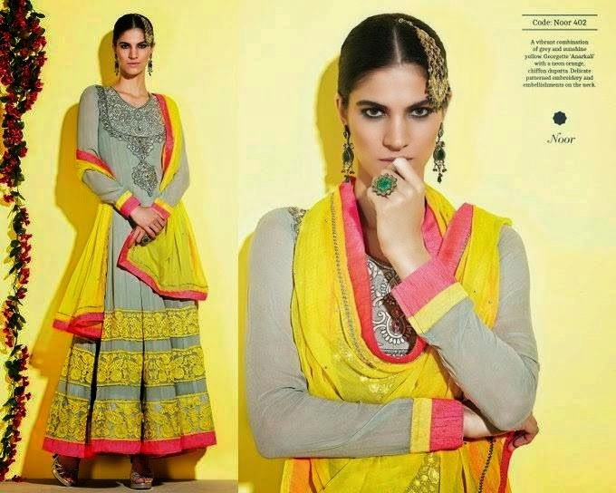 Grey And Yellow Color Mehndi Dress Suit