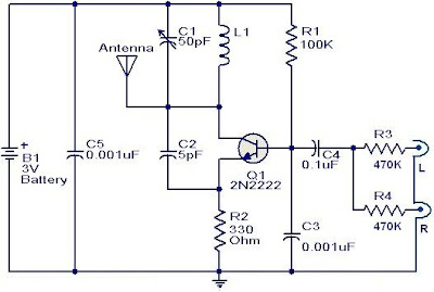 FM transmitter circuit using 2N2222