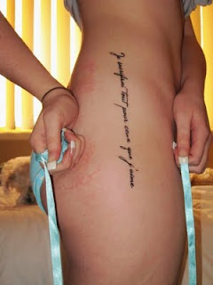 Letter Tattoo design on sexy girl side body - Script tattoo