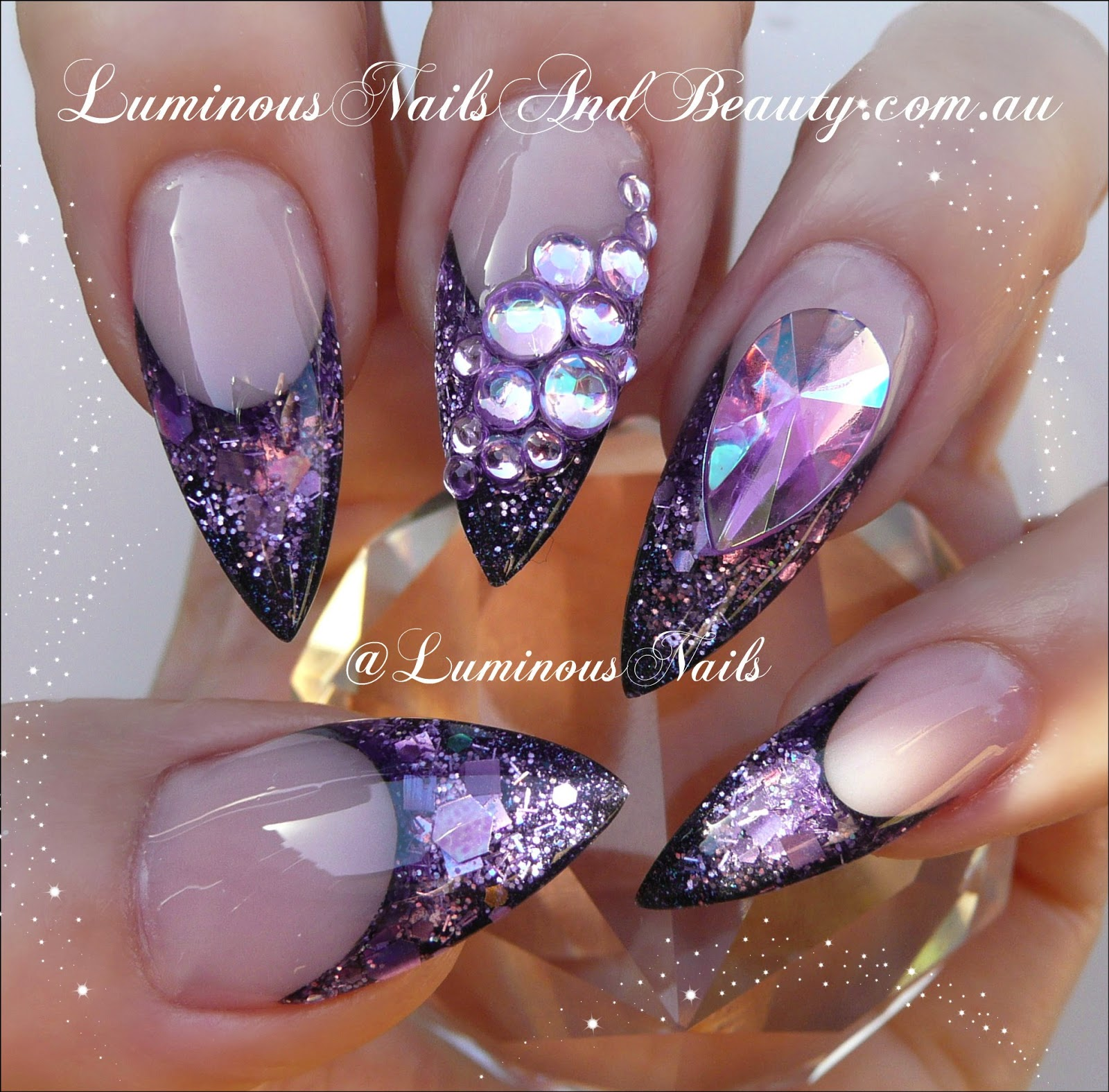 Luminous Nails: Glittery Luminous Purple Nails...