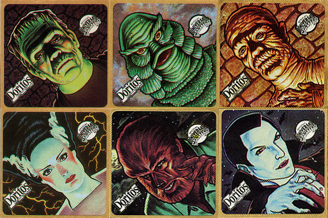 Inside a bag of doritos you would find one of six universal monsters stickers and naturally i ate my way through them all
