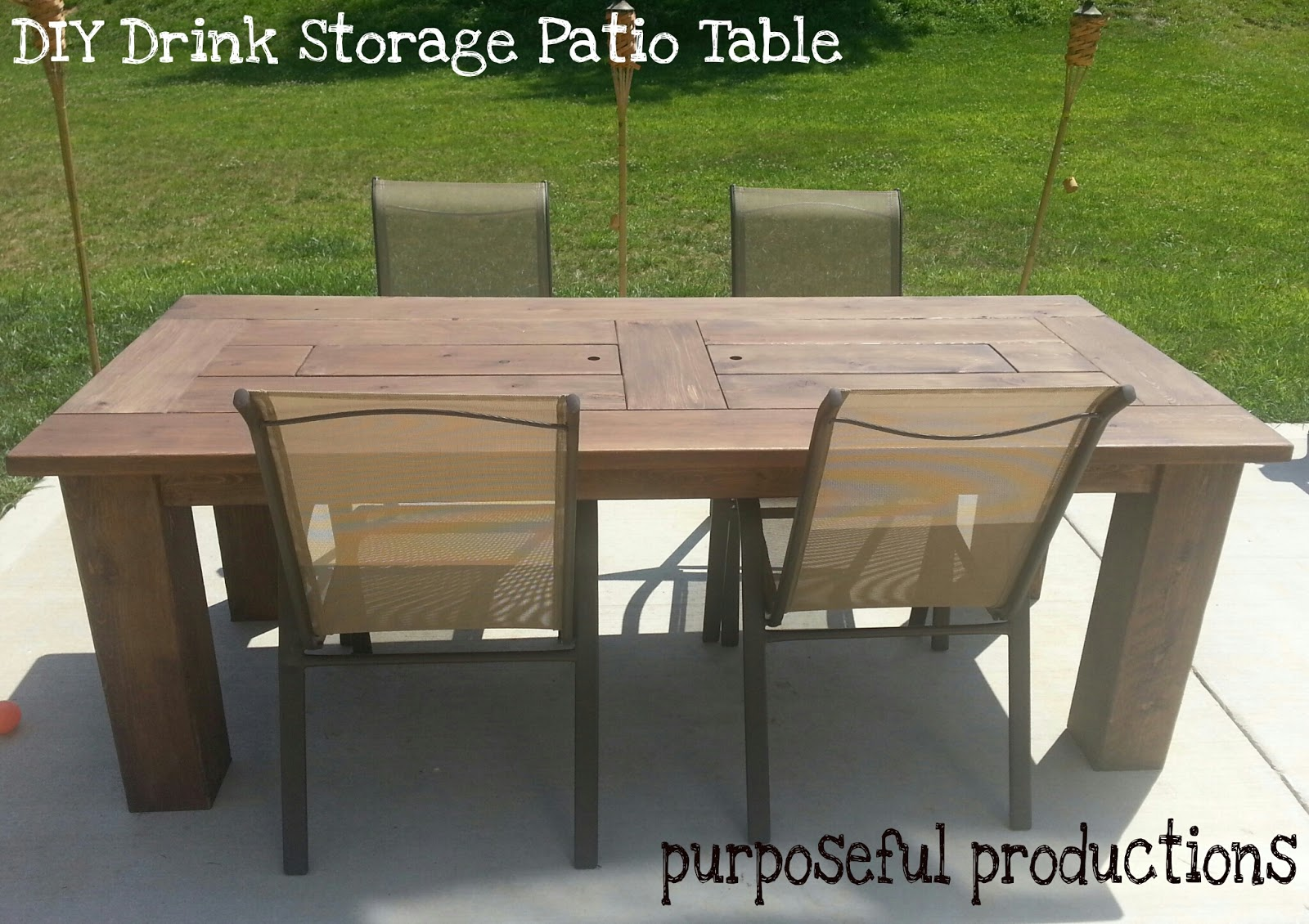 Purposeful productions diy wood patio table with drink